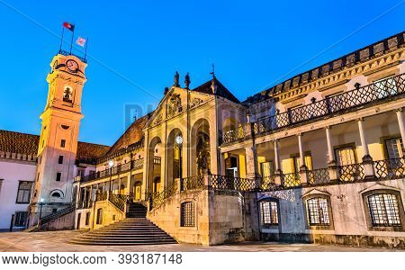 Via Latina At The University Of Coimbra In The Evening In Portugal