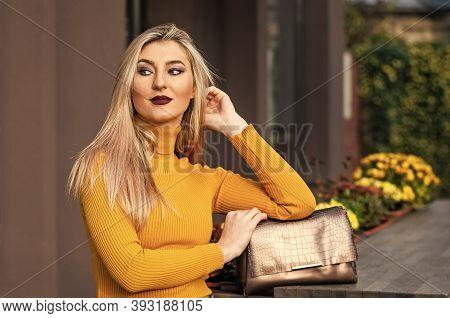 Autumn Style. Luxury Leather Purse. Sale Of Style. Leather Bag Fashion. Golden Female Bag. Fashionab