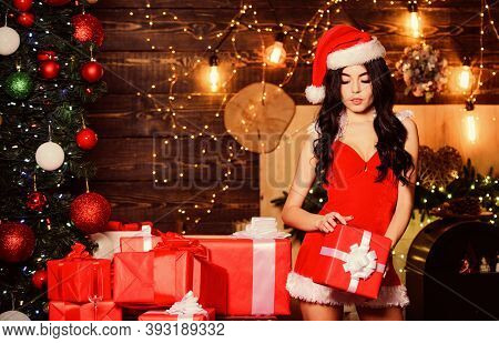 Lingerie Boutique. Merry Christmas. Erotic Surprise. Sexual Holidays. Sexy Gift. Sex Shop. Attractiv