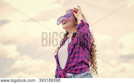 Glamour Fashion Model. Child Wear Funny Party Glasses. Child On The Background Of Sky. Summer Holida