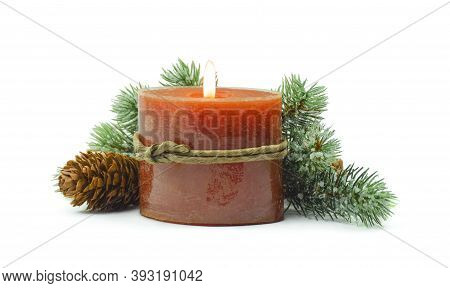 Fir Branch With Christmas Tinsel And Candle .fir Branch With Christmas Tinsel And  Candle. Christmas