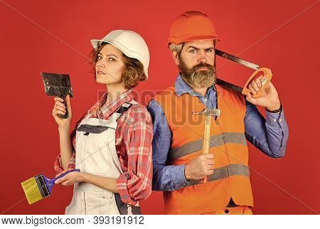 Woman Builder Hard Hat. Man Engineer Or Architect. Construction Site. Interior Renovation. Creating