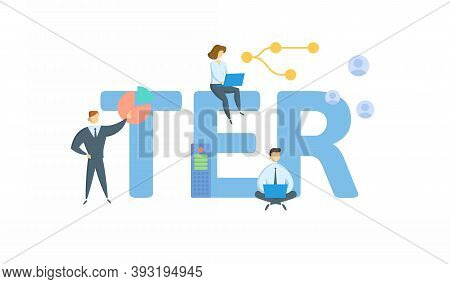 Ter, Total Expense Ratio. Concept With Keyword, People And Icons. Flat Vector Illustration. Isolated