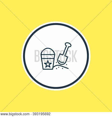 Illustration Of Sand Pail With Shovel Icon Line. Beautiful Infant Element Also Can Be Used As Beach