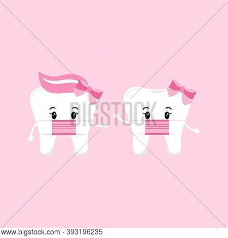 Cute Tooth Girl Wear Medical Mask Set Isolated On Background. Flat Design Cartoon Style Personal Hyg