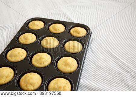Homemade Cornbread Muffins, Side View. Copy Space.