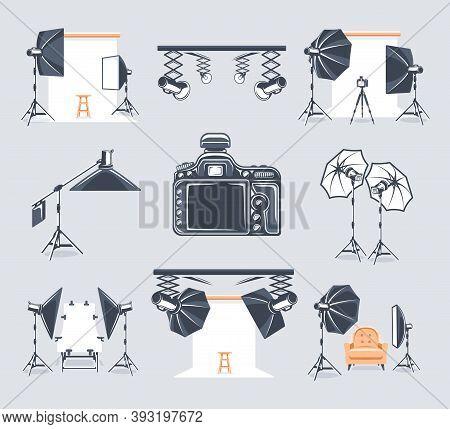 Set Of Elements Of The Photo Studio. Symbols For Photo Studio Design Logos And Emblems. Flat Design