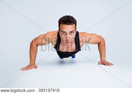 Close-up Portrait Of His He Nice Attractive Sportive Strong Dedicated Macho Guy Doing Push-ups Motiv