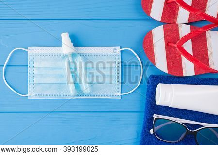 Summer Vacation And Health Protection Concept. Top Above Overhead View Close-up Photo Of Towel Sungl