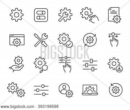 Setup And Settings Icons Set. Collection Of Simple Linear Web Icons Such Installation, Settings, Opt