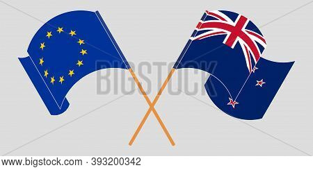 Crossed And Waving Flags Of New Zealand And The Eu. Vector Illustration