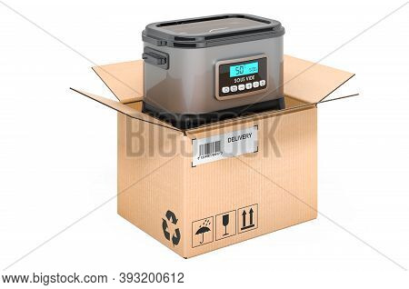 Sous Vide Machine Inside Cardboard Box, Delivery Concept. 3d Rendering Isolated On White Background