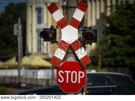 Bucharest, Romania - September 22, 2020: A Level Crossing Sign At The Intersection Of A Road And A R