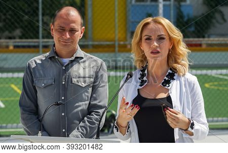Bucharest, Romania - June 26, 2020 Daniel Baluta, The Mayor Of Sector 4, And Gabriela Firea, The May
