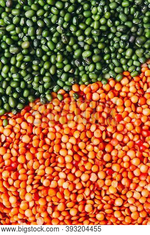 Dry Red Lentils And Green Mung, Food Bright Background