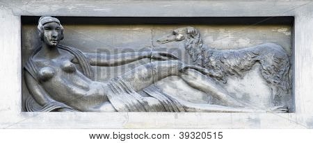 Bas-relief - Stylized Girl With A Dog