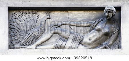 Bas-relief - Stylized Girl With A Pheasant