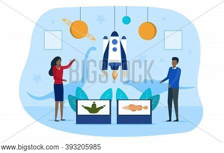 Concept Of Scientific Exhibition. People Man And Woman Visiting Scientific Museum Or Exhibition. Ast