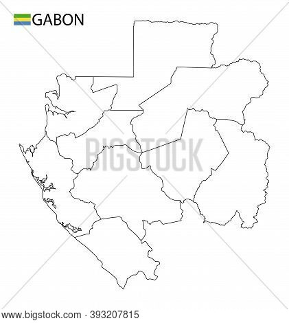 Gabon Map, Black And White Detailed Outline Regions Of The Country.
