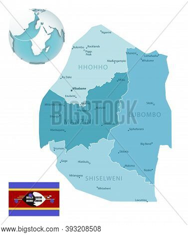 Eswatini Administrative Blue-green Map With Country Flag And Location On A Globe.