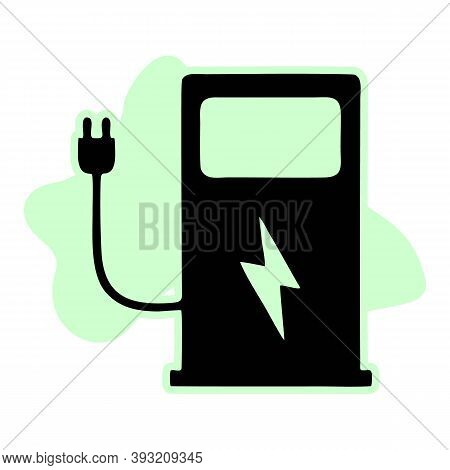 Electric Vehicle Charging Station On White Background. Ev Charge Point For Electric Vehicles. Flat S