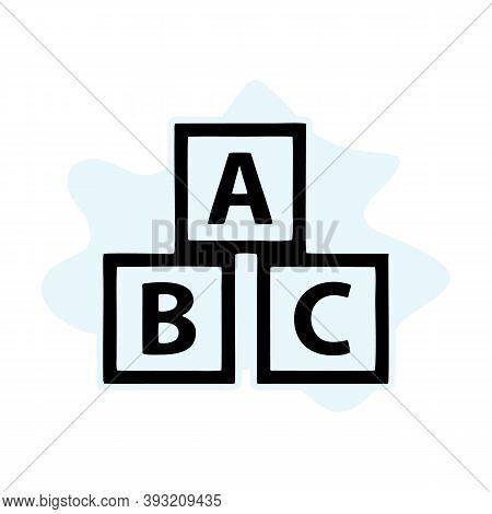 Education Abc Blocks Icon. Vector Simple Illustration Of Education Abc Blocks Icon Isolated On White