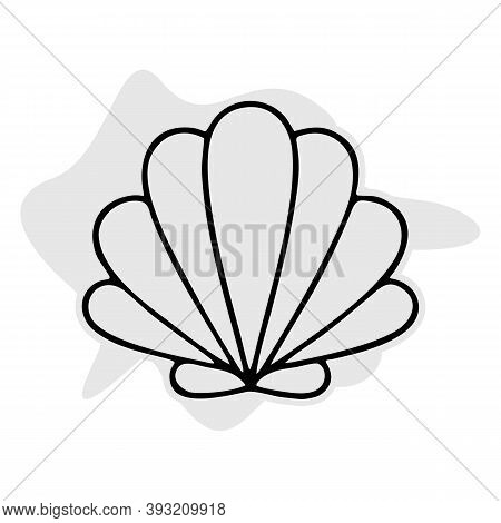 Seashell Thin Line Icon, Animal And Underwater, Shell Sign Vector Graphics, A Linear Pattern On A Wh