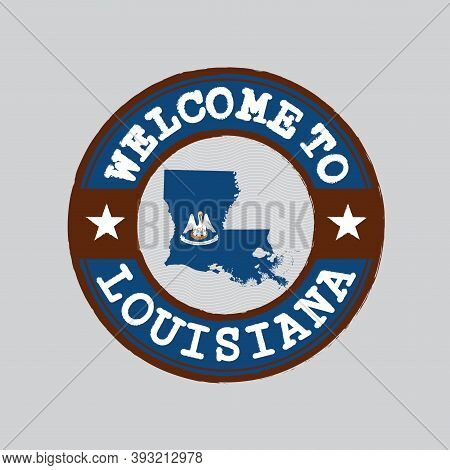 Vector Stamp Of Welcome To Louisiana With Map Outline Of The Nation In Center. The States Of America