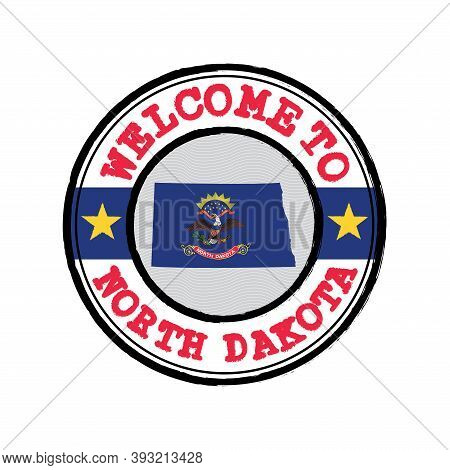 Vector Stamp Of Welcome To North Dakota With Map Outline Of The States In Center. The States Of Amer