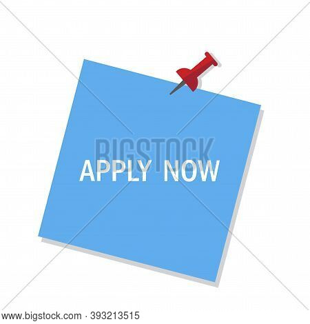 Apply Now On Blue Background. Sticker Design. Apply Now, Great Design For Any Purposes. Banner Offer