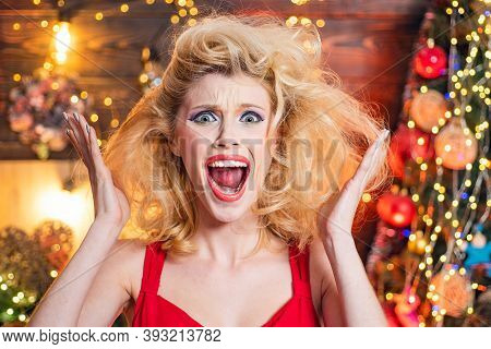 Nervous, Thrilled And Scared Emotions. Merry Christmas And Happy New Year. Surprised Woman. Crazy Co