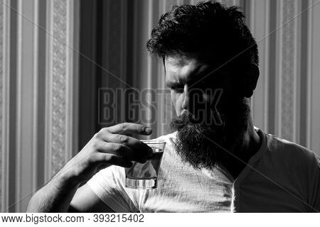 Portrait Of Stylish Man Beard. Handsome Stylish Bearded Man Is Drinking At Home After Work. Drunk Ma