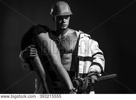 Passionate Couple Concept. Vibrant With Passion. Sexual Game Is Your Passion. Firefighter Sexy Body