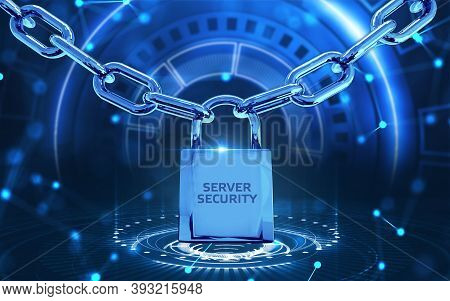 Cyber Security Data Protection Business Technology Privacy Concept.server Security 3d Illustration