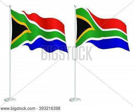 Flag Of South Africa On Flagpole Waving In Wind. Holiday Design Element. Checkpoint For Map Symbols.