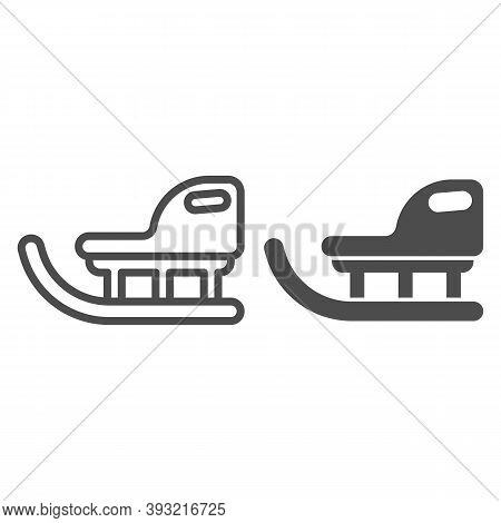 Children Winter Sled Line And Solid Icon, Christmas Concept, Christmas Sleigh Sign On White Backgrou