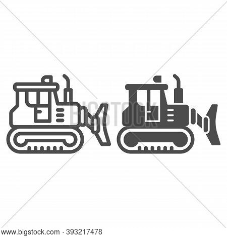 Excavator Line And Solid Icon, Heavy Equipment Concept, Backhoe Sign On White Background, Excavator