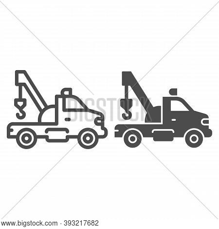 Tow Truck With Crane Line And Solid Icon, Heavy Equipment Concept, Tow Car Sign On White Background,