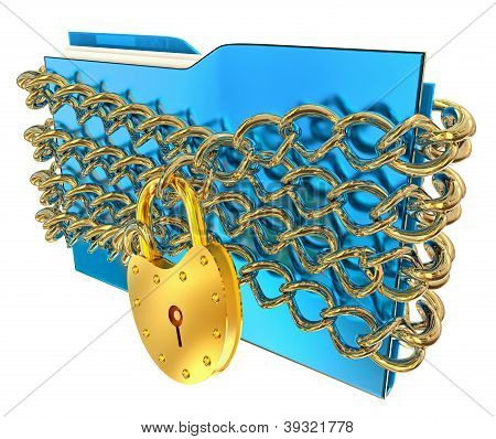blue folder with golden hinged lock