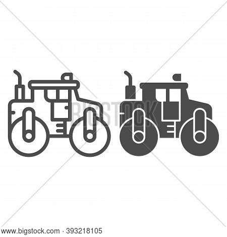 Asphalt Roller Line And Solid Icon, Heavy Equipment Concept, Steamroller Truck Sign On White Backgro
