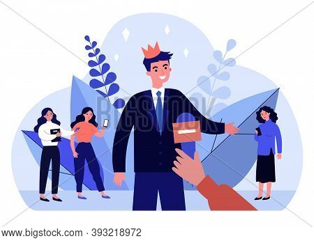 Popular Man In Crown Giving Interview. Celebrity, Microphone, Hand Flat Vector Illustration. Popular