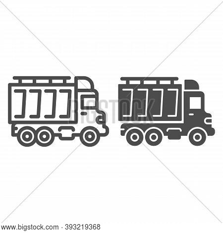 Truck Line And Solid Icon, Heavy Equipment Concept, Dump Vehicle Sign On White Background, Heavy Dut