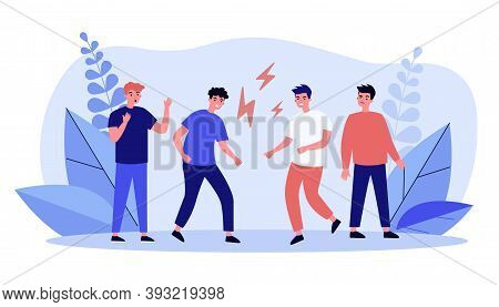 Angry Guys Fighting Hand-to-hand. Foe, Enemy, Lightning Flat Vector Illustration. Quarrel And Relati