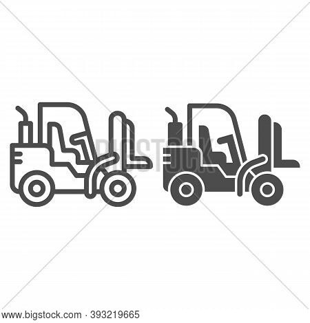 Loader Line And Solid Icon, Heavy Equipment Concept, Fork Lift Sign On White Background, Forklift Lo