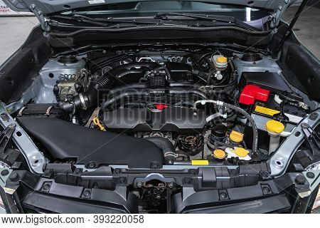 Novosibirsk, Russia - October 23, 2020: Subaru Forester, Close Up Detail Of  Car Engine, Front View.