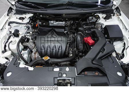 Novosibirsk, Russia - October 23, 2020: Mitsubishi Lancer,  Close Up Detail Of  Car Engine, Front Vi