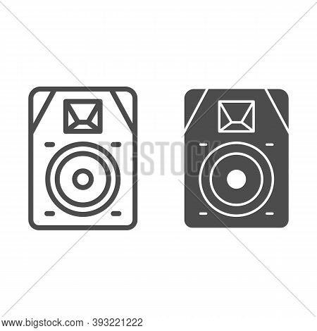 Audio Speaker Line And Solid Icon, Sound Design Concept, Sound Loud Speaker Sign On White Background