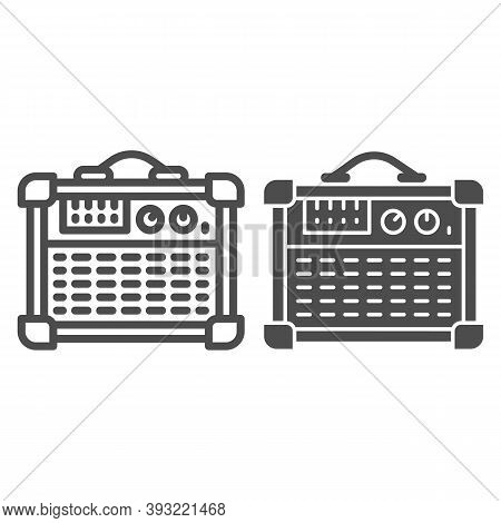 Guitar Combo Amplifier Line And Solid Icon, Sound Design Concept, Speakers For Electric Guitar Sign