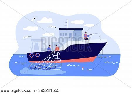 Fishermen Sailing Boat In Sea And Fishing With Rod And Net. Vector Illustration For Fisher Job, Fish