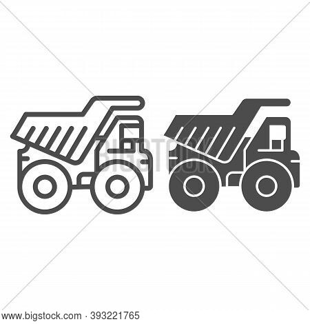 Large Mining Dump Truck Line And Solid Icon, Heavy Equipment Concept, Big Heavy Car Sign On White Ba